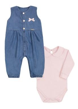 conjunto macacao body bebe feminino rosa paraiso 10153 1