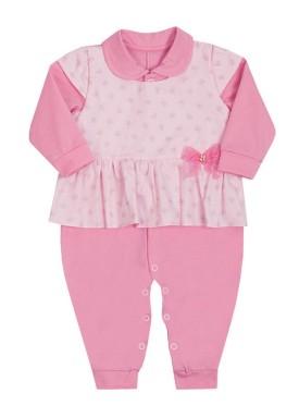 macacao longo bebe menina lacos rosa paraiso 10639