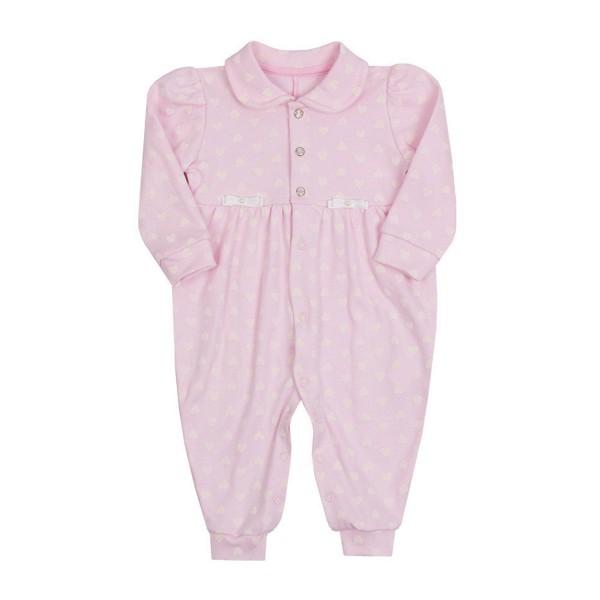 macacao longo bebe feminino coracoes rosa paraiso 10641