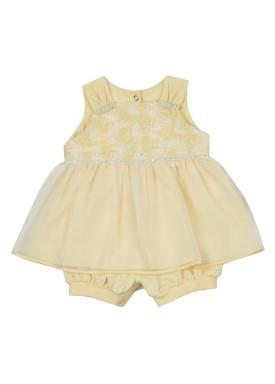 macacao banho de sol bebe feminino bordado amarelo paraiso 8901