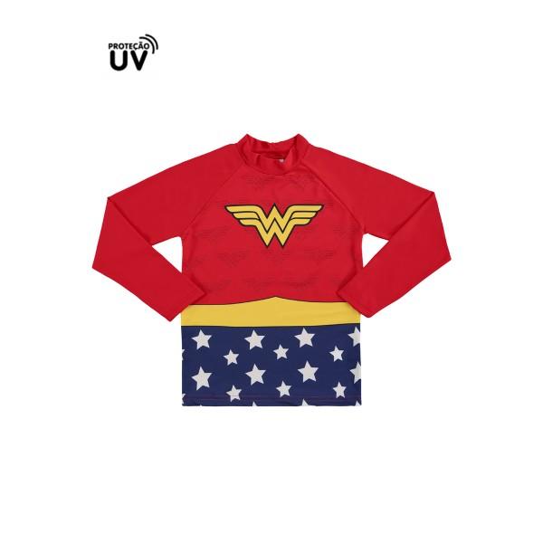 blusa infantil feminino mulher maravilha vermelho marlan m6063 2