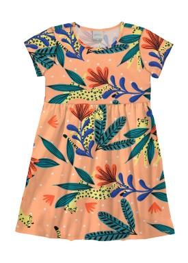 vestido infantil feminino tropical laranja alakazoo 16050