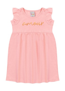 vestido infantil feminino amour rosa kiiwi
