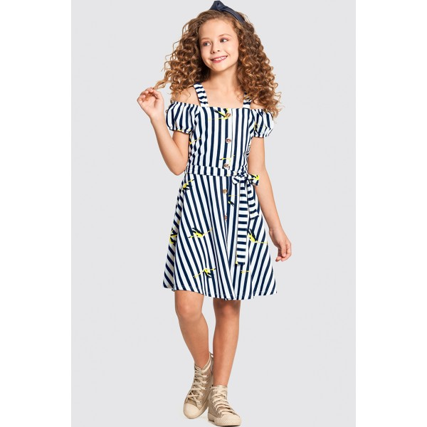 vestido infantil feminino flamingos marinho alakazoo 47280 1