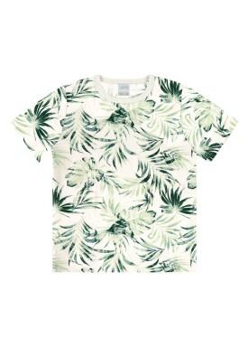 camiseta infantil masculina folhas offwhite alakazoo 46894