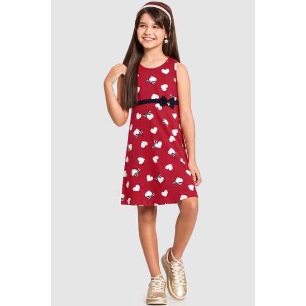 vestido infantil feminino coracoes vermelho alakazoo 11213 1