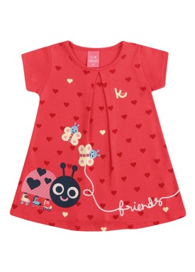 vestido suedine bebe feminino friends vermelho kamylus 10140