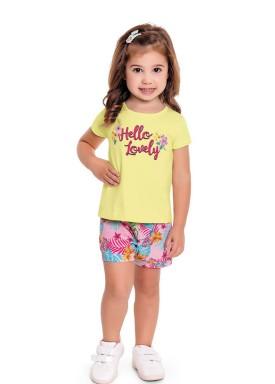 conjunto infantil feminino hello lovely amarelo forfun 3114 1