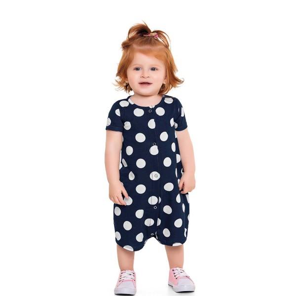 macacao curto bebe feminino bolinhas marinho fakini 3009 1