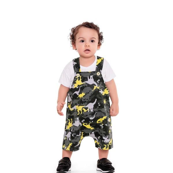 macacao curto bebe masculino dinos amarelo fakini 3208 1