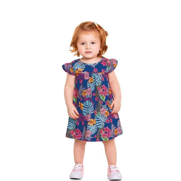 vestido bebe feminino flores azul forfun 3100 1