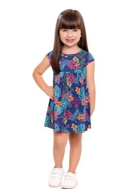 vestido infantil feminino folhas azul forfun 3109 1