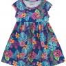 vestido infantil feminino folhas azul forfun 3109 3