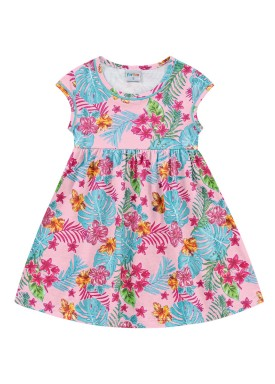 vestido infantil feminino folhas rosa forfun 3109