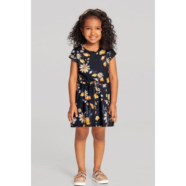 vestido infantil feminino flores marinho alakazoo 39571 1