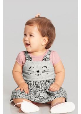vestido body bebe feminino gatinha salmao alakazoo 39538 1