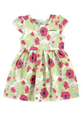 vestido bebe feminino flores verde marlan 60386