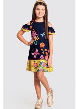 vestido infantil feminino garden marinho alakazoo 47269 1