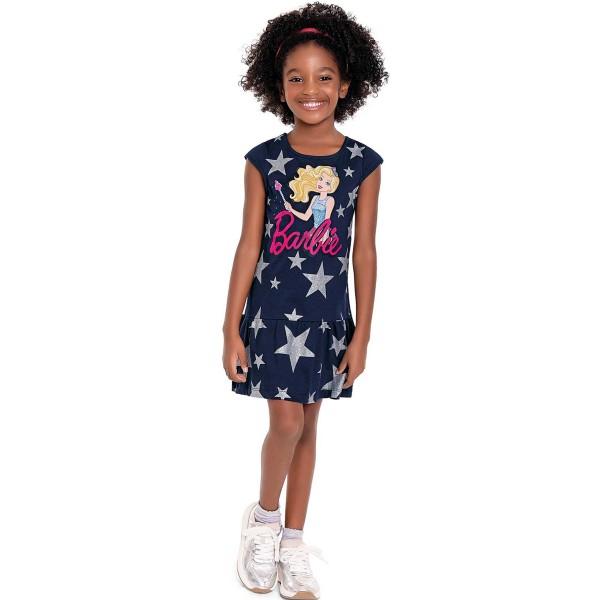 vestido infantil feminino barbie marinho fakini 3435 1