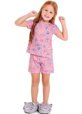 pijama curto infantil feminino dreams rosa fakini 3082 1