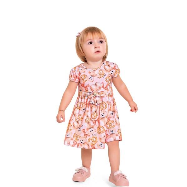 vestido bebe feminino ursinhos rosa fakini 3003 1