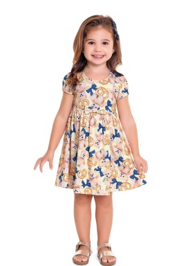 vestido infantil feminino ursinhos amarelo fakini 3015 1