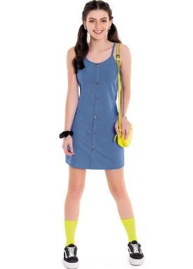 vestido juvenil feminino stretch azul fakini 3830 1