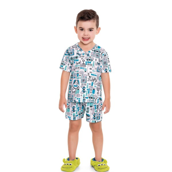 pijama curto infantil masculino game branco fakini 3245 1