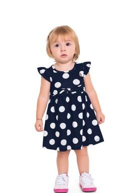 vestido bebe feminino bolinhas marinho fakini 3006 1