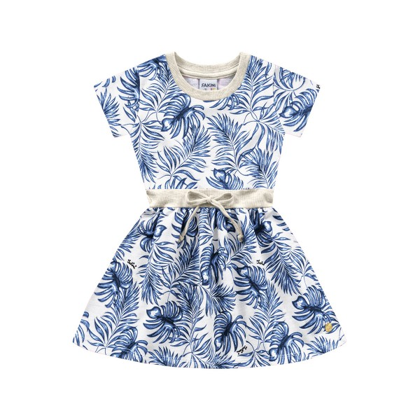 vestido infantil feminino folhagem branco fakini 3028