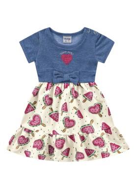 vestido bebe feminino melancia marfim fakini 3012