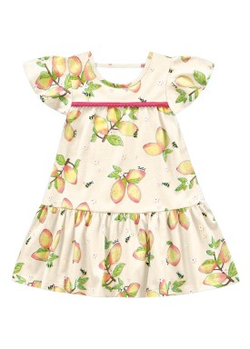 vestido infantil feminino mangas baunilha fakini 3021