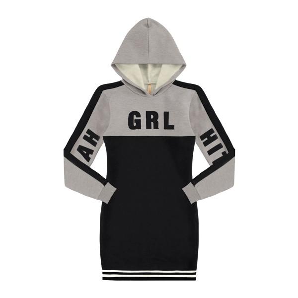 vestido moletom juvenil feminino grl preto lunender hits 67592