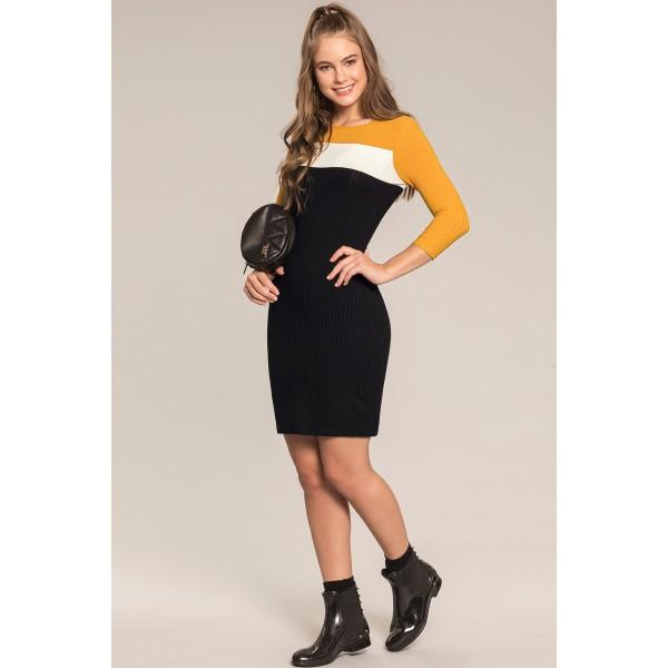 vestido manga longa juvenil feminino canelado amarelo lunender hits 67591 1