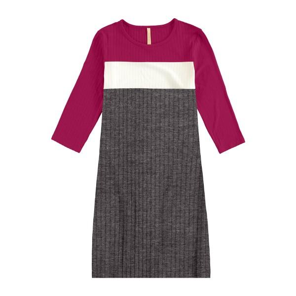 vestido manga longa juvenil feminino canelado violeta lunender hits 67591
