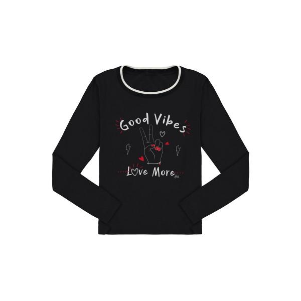 blusa manga longa juvenil feminina good vibes preto lunender hits 67597