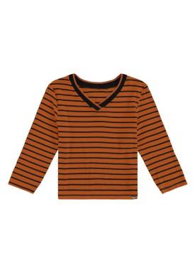 blusa manga longa juvenil feminina listras marrom lunender hits 67603