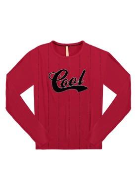 blusa manga longa juvenil feminina cool vermelho lunender hits 67599