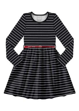 vestido infantil juvenil feminino listrado preto alakazoo 67535