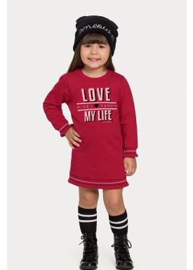 vestido moletom infantil juvenil feminino love vermelho alakazoo 67469 1