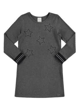 vestido manga longa infantil juvenil feminino stars mescla alakazoo 67530