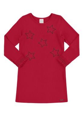 vestido manga longa infantil juvenil feminino stars vermelho alakazoo 67530