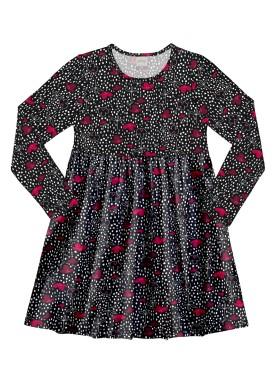 vestido manga longa infantil juvenil feminino estampado preto alakazoo 11372