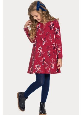 vestido manga longa infantil juvenil feminino floral vermelho alakazoo 11372 1