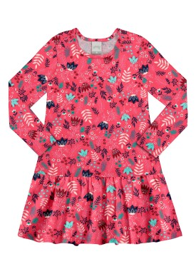 vestido manga longa infantil feminino folhas rosa alakazoo 11375