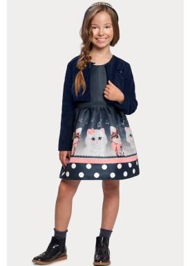 vestido casaco infantil feminino gatinhos marinho alakazoo 11385 1