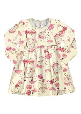 vestido manga longa bebe feminino elefantes offwhite alakazoo 67454