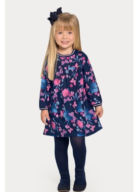 vestido manga longa infantil feminino floral marinho alakazoo 67478 1