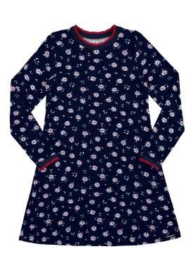 vestido manga longa infantil juvenil feminino flores marinho alakazoo 67534