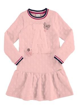 vestido manga longa infantil juvenil feminino borboletas rosa alakazoo 67546